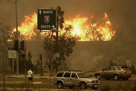 Santa Ana conditions are common in San Diego. Here, the 2003 Cedar Fire jumps Interstate 15.